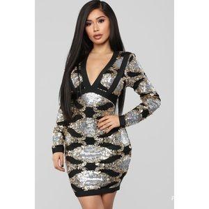 Fashion Nova Bandage Sequin & Beaded Mini Dress XS